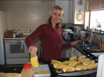 Expression is priceless!! Making Christmas breakfast. Bacon, eggs and French Toast