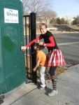 "Christmas run - socks, plaid skirt and a shirt that read ""peace love joy"""