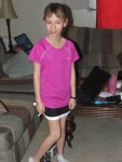 Kezia in her new running clothes