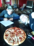 Taylor couldn't pose because he was drawing out plans for the zombie apocalypse during our pizza competition...  Multi-tasking...