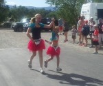 Olivia and Kezia finishing together in glitter skirts!
