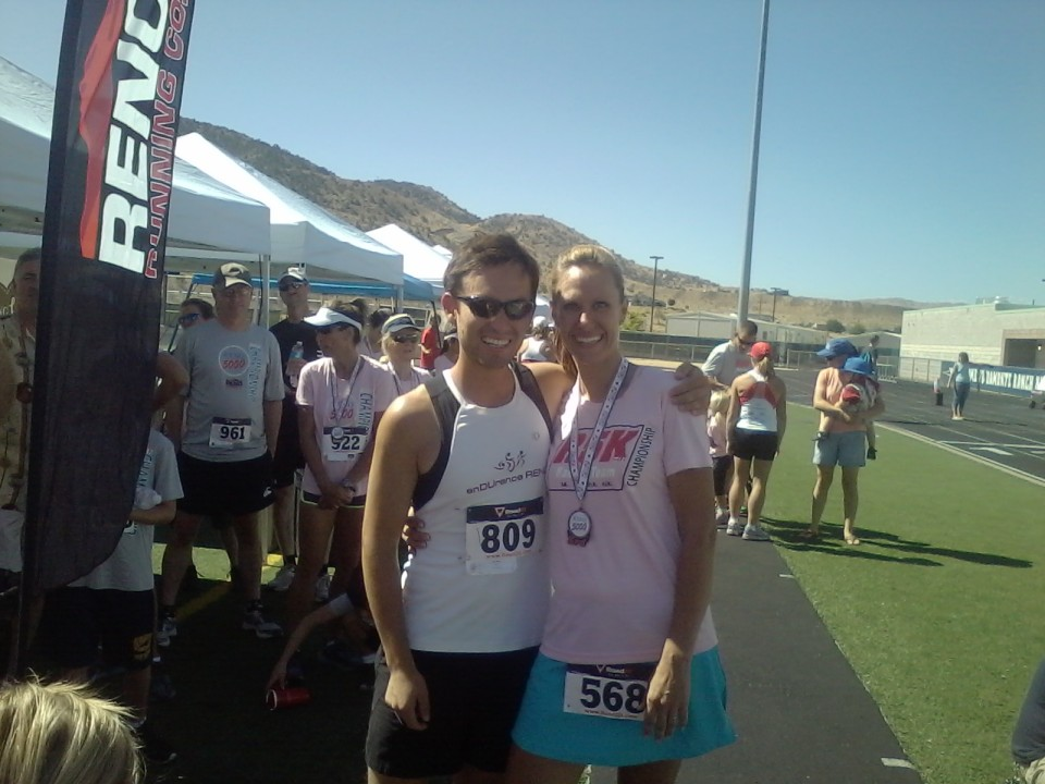 Lupe and Me after the race.  I'd pace him except he can run the distance nearly twice in the time it takes me to run it once.
