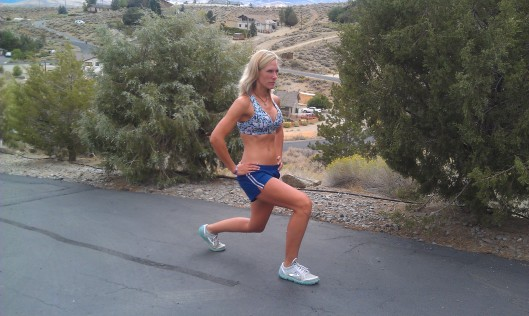 Lunges up my driveway.  Too bad you can't see how steep it is