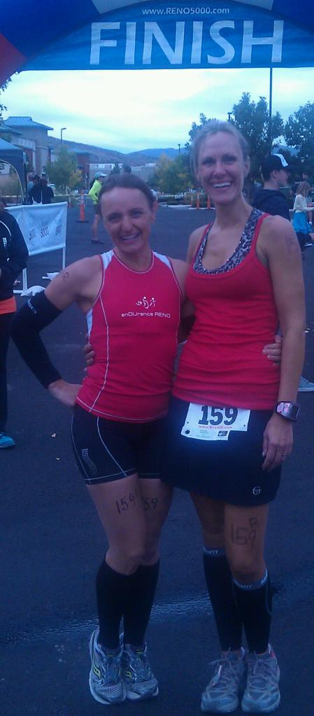 Olivia and Me at our team Duathlon last year.  She was injured so she did the bike portion and I did the run and yes, we won first place!!!