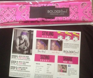 Instructions and my Bolder Band.  Pink with sparkle.  Of course