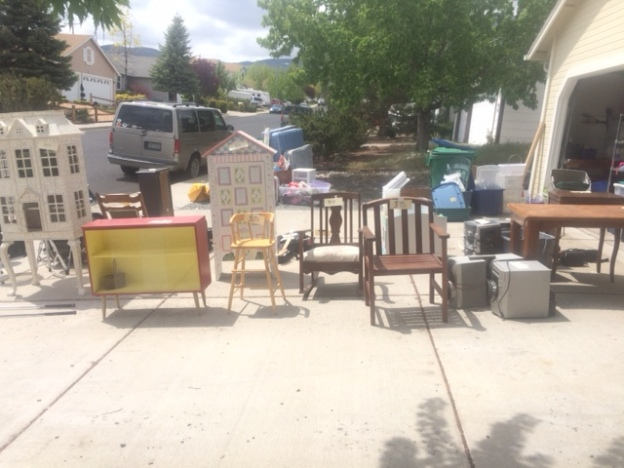 Garage sales will be part of our weekends for a bit.  The good news is that it gives the kids a chance to sell things and make money and we have some cash for the move